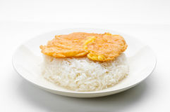 Cooked rice with omelet Stock Photo