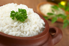Cooked Rice with Parsley stock photos