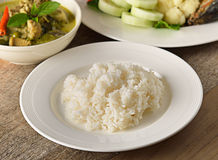Cooked rice in a plate on the Tableware Thai Royalty Free Stock Photo