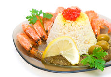 Cooked rice with shrimp and salmon roe close-up Royalty Free Stock Photography