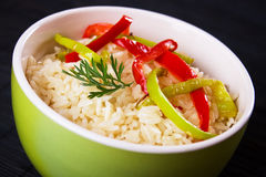 Cooked rice with slices of bell pepper Royalty Free Stock Photos