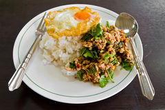 Cooked rice with spicy minced meat salad Royalty Free Stock Photography
