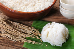 Cooked rice, uncooked rice and paddy rice on wooden table Stock Image