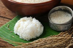 Cooked rice, uncooked rice and paddy rice on wooden table Stock Photos