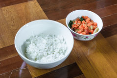 Cooked rice and vegetable fried Royalty Free Stock Photo