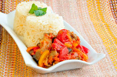 Cooked rice with vegetable ragout Stock Photos