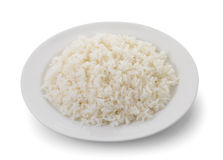 Cooked rice in a white plate Stock Images