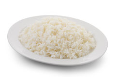 Cooked rice in a white plate Royalty Free Stock Images