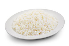 Cooked rice in a white plate Stock Photos