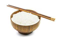 Cooked rice in wooden bowl Royalty Free Stock Images