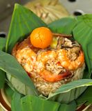 Cooked  rice wrapped with lotus leaf Stock Images
