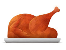 Cooked roast turkey, chicken  on white background Royalty Free Stock Photo