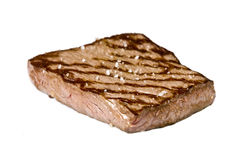 Cooked rump steak. On white background Royalty Free Stock Image