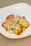 Cooked salmon. Fillets with spinach sauce on white plate Royalty Free Stock Photography