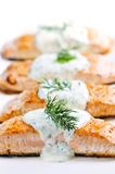 Cooked salmon. Fillets with dill sauce on white plate Royalty Free Stock Image