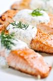 Cooked salmon. Fillets with dill sauce on white plate Stock Image