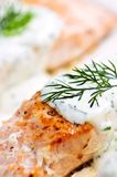 Cooked salmon. Fillets with dill sauce on white plate Stock Photos