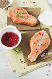 Cooked salmon fillet Stock Images
