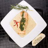 Cooked salmon fillets. With  sauce on white plate Royalty Free Stock Images