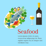 Cooked salmon fish on a plate , vector. Seafood platter vector flat illustration. Cooked salmon fish on a plate with lemon and wine bottle. Fresh seafood Stock Images