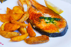 Cooked salmon fish with potatoes. In plate Royalty Free Stock Photos