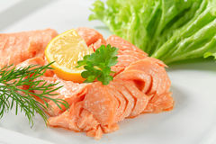 Cooked salmon. Juicy cooked salmon with lemon Stock Photography