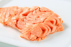 Cooked salmon. Juicy cooked salmon on a plate Stock Photography
