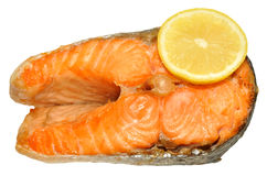 Cooked Salmon Steak. One cooked pink salmon steak, isolated on a white background Stock Photo