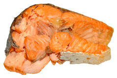 Cooked Salmon Steak. One cooked pink salmon steak, isolated on a white background Royalty Free Stock Images