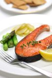 Cooked salmon steak Royalty Free Stock Photos