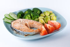 Cooked salmon with vegatables Stock Photography