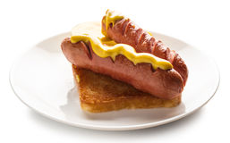 Cooked sausage with mustard Stock Photography