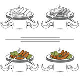 Cooked sausages on the grill. Delicious sausages with green peas on a plate Stock Images