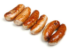 Cooked Sausages Isolated on White Background Stock Photos