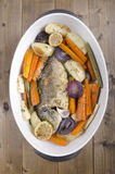 Cooked sea beam with vegetable Stock Images