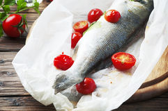 Cooked seabass with tomato and parsley Royalty Free Stock Photos