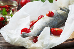 Cooked seabass with tomato and parsley Stock Images