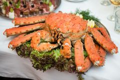 Cooked and served whole crab.  stock photo