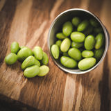 Cooked shelled edamame in stainless steel container Stock Photography