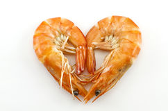 Cooked Shrimp. Boiled shrimp isolated on white with heart shape Royalty Free Stock Image