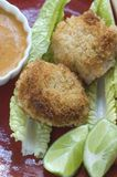 Cooked Shrimp Cakes. A plate of panko covered shrimp cakes freshly cooked and surrounded by lettuce leaves, lime, and spicy Japanese dipping sauce Stock Image