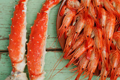 Cooked shrimp and crab legs Royalty Free Stock Photo