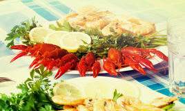 Cooked shrimp and crayfish on plate close up Stock Photo
