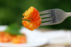 Cooked shrimp on a fork Royalty Free Stock Photos