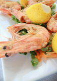 Cooked shrimp with lemon Stock Photo