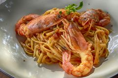 Cooked Shrimp With Noodles Royalty Free Stock Image