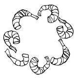 Cooked Shrimp or Prawn Cocktail Wreath. Isolated On a White Background Doodle Cartoon Vintage Hand Drawn Sketch Royalty Free Stock Image