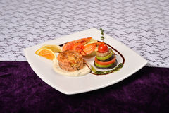 Cooked shrimp prepared with basil, lemon with vegetables, all se Stock Photo