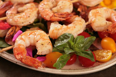 Cooked Shrimp on Skewers Royalty Free Stock Image