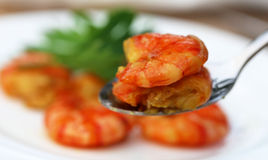 Cooked shrimp on a spoon Royalty Free Stock Images